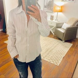 Brooks Brothers White Striped Buttondown Small